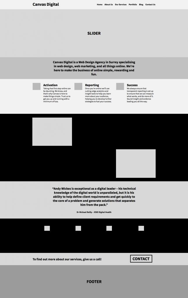 Mid Fidelity Wireframe - Surrey Web Design Agency